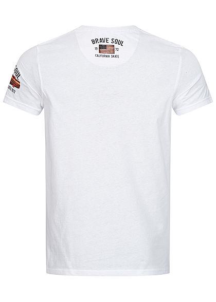 Brave Soul Herren T-Shirt Skateboard Print weiss