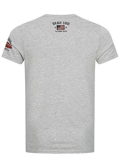 Brave Soul Herren T-Shirt Skateboard Print medium grau