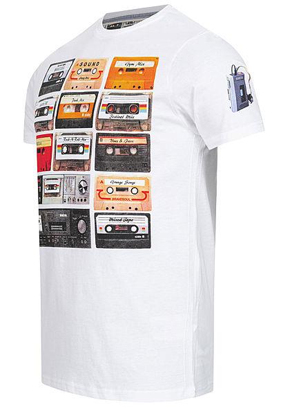 Brave Soul Herren T-Shirt Kassetten Print weiss mc