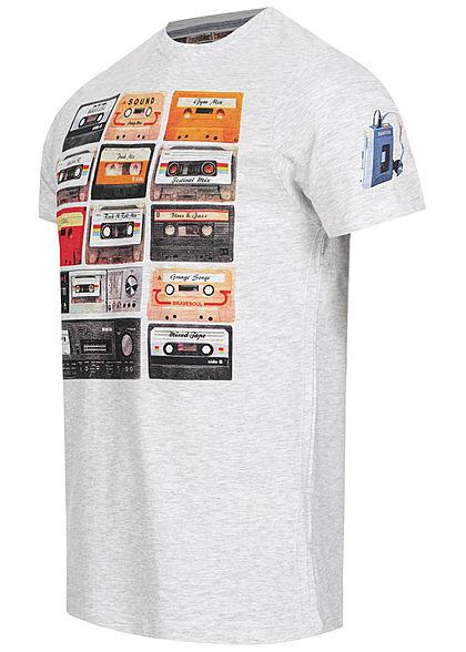 Brave Soul Herren T-Shirt Kassetten Print ecru grau