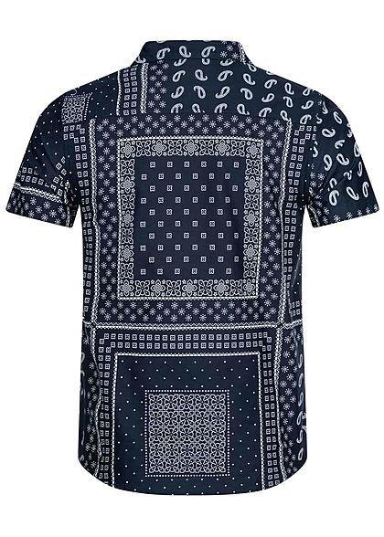 Brave Soul Herren Kurzarm Hemd Allover Print Regular Fit navy blau weiss
