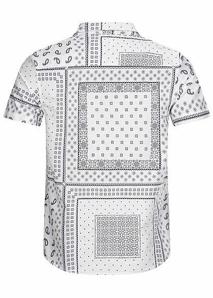 Brave Soul Herren Kurzarm Hemd Allover Print Regular Fit optic weiss navy blau