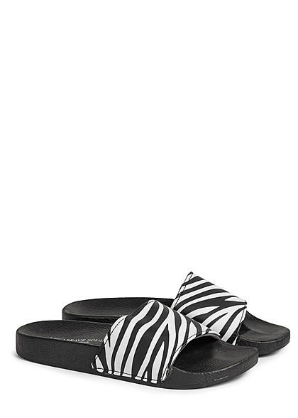 Brave Soul Herren Schuh Badesandale Zebra Print schwarz weiss