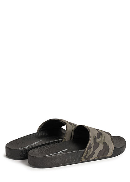 Brave Soul Herren Schuh Badesandale Camouflage Print camo schwarz