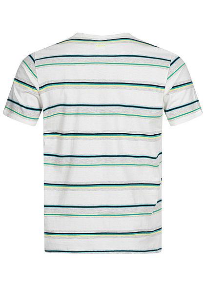 Hailys Herren T-Shirt Streifen Muster off weiss mc