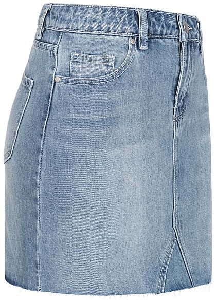 Hailys Damen Mini Jeans Rock 5-Pockets medium blau denim