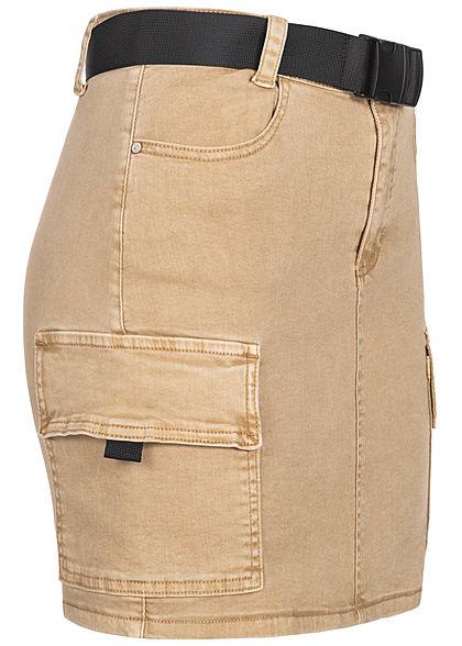 Hailys Damen Mini Cargo Jeans Rock inkl. Gürtel 4-Pockets beige denim