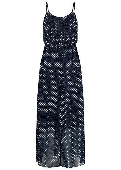 Hailys Damen Maxi Chiffon Kleid Punkte Muster 2-lagig navy blau weiss