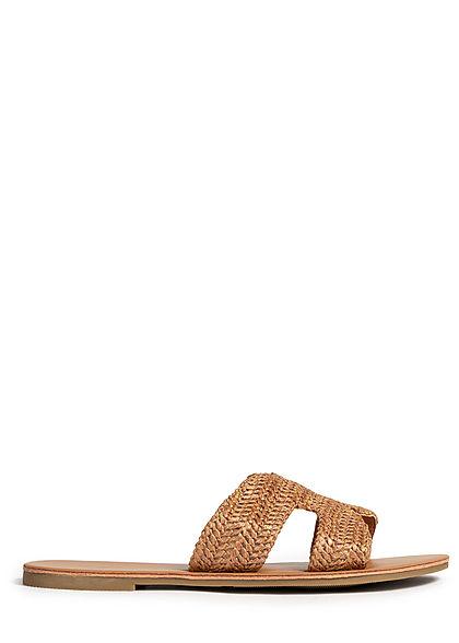 Hailys Damen Schuh Sandale Häkel Optik cognac braun