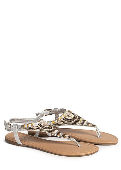 Hailys Damen Schuh Sandale Zehensteg Deko Perlen Muscheln Strasssteine silber