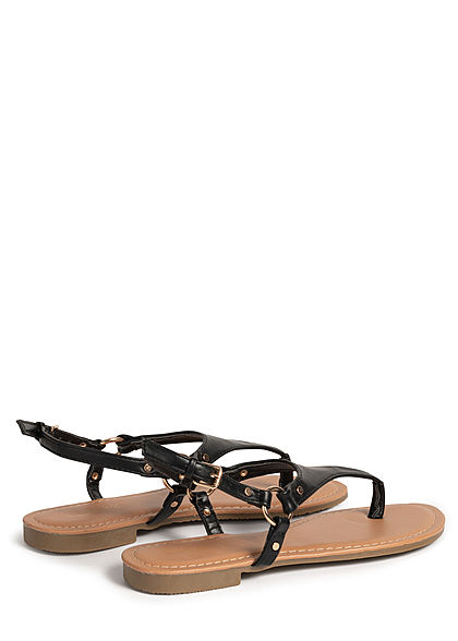 Hailys Damen Schuh Sandale Zehensteg Kunstleder schwarz