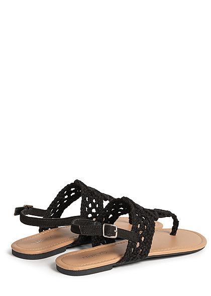 Hailys Damen Schuh Sandale Zehensteg Häkel Optik schwarz