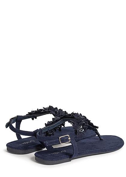 Hailys Damen Schuh Sandale Zehensteg Deko Blumen & Strasssteine navy blau