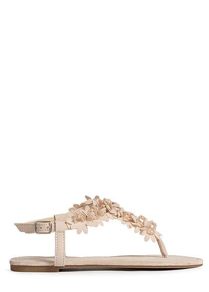 Hailys Damen Schuh Sandale Zehensteg Deko Blumen & Strasssteine beige