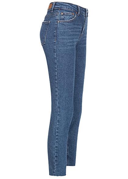 Hailys Damen Jeans Hose Ankle High-Waist 5-Pockets Fransen medium blau denim