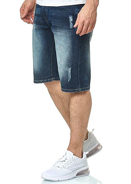 Southpole Herren Jeans Shorts 5-Pockets Destroy Look dunkel sand blau