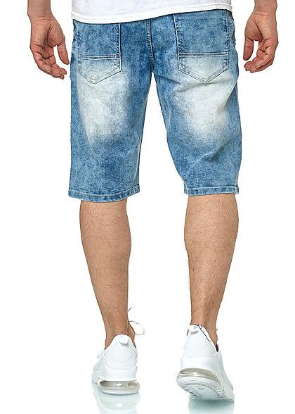 Southpole Herren Jeans Shorts 5-Pockets Destroy Look hell sand blau
