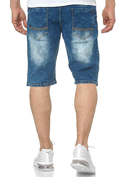 Southpole Herren Jeans Shorts 5-Pockets Destroy Look mid sand blau
