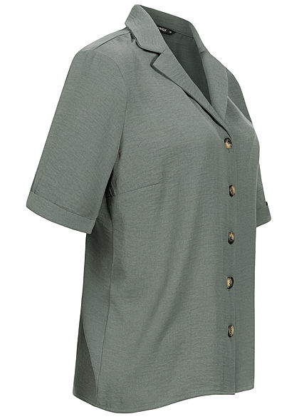 ONLY Damen NOOS Solid Bluse V-Neck Shirt Knopfleiste laurel wreath grün