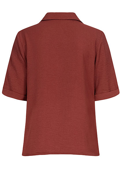 ONLY Damen NOOS Solid Bluse V-Neck Shirt Knopfleiste spiced apple bordeaux rot
