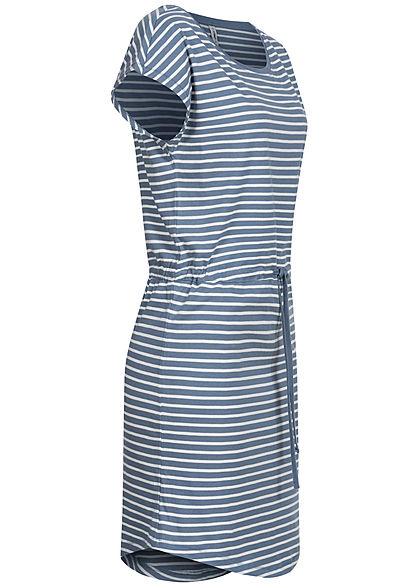 ONLY Damen NOOS T-Shirt Kleid Streifen Muster Tunnelzug mirage blau weiss