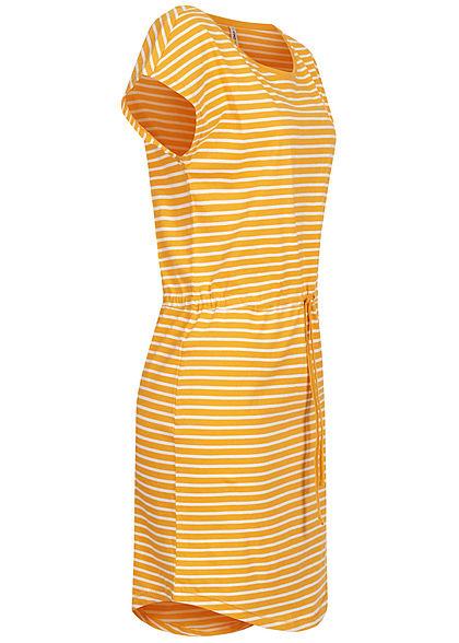 ONLY Damen NOOS T-Shirt Kleid Streifen Muster Tunnelzug mango gelb weiss