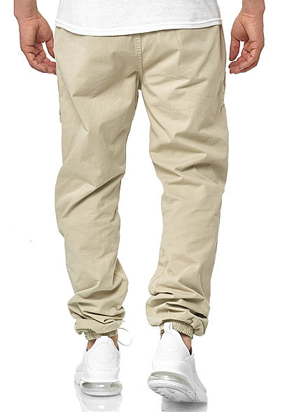 Seventyseven Lifestyle Herren Cargo Stoffhose Jogging Pants 6-Pockets concrete beige