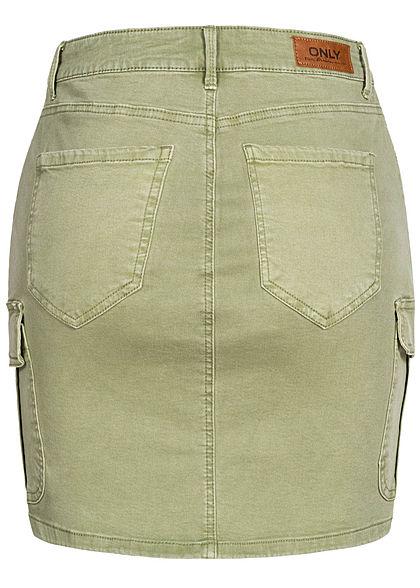 ONLY Damen NOOS Mini Cargo Jeans Rock 7-Pockets oil grün denim