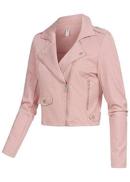 ONLY Damen Biker Poptrash Kurz Jacke 2 Deko Zipper pale mauve rosa