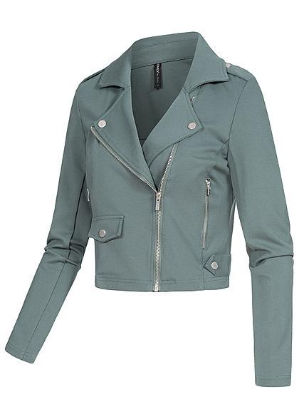 ONLY Damen Biker Poptrash Kurz Jacke 2 Deko Zipper balsam grün
