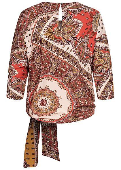 ONLY Damen 3/4 Arm Blusen Shirt Bindedetail vorne Paisley Print lotus flame rot