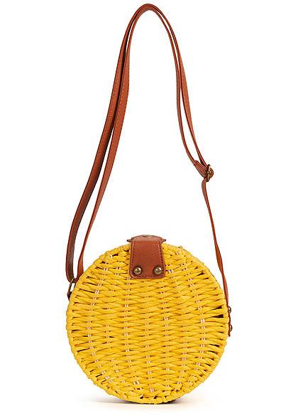 Hailys Damen Runde Jute Mini Handtasche 18cm 1-Pocket sommer gelb