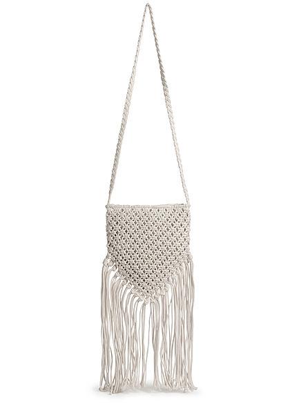 Hailys Damen Mini Häkel Handtasche mit langen Fransen 23x25cm off weiss
