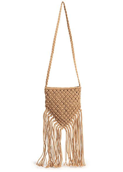 Hailys Damen Mini Häkel Handtasche mit langen Fransen 23x25cm dunkel beige