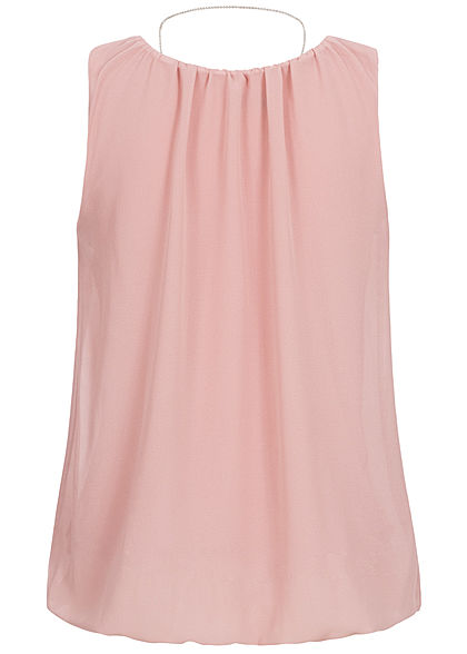 Hailys Damen Chiffon Top inkl. Kette 2-lagig old rosa