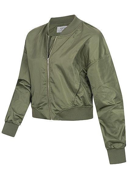 Hailys Damen leichte Jacke kurzer Schnitt 2-Pockets khaki grün
