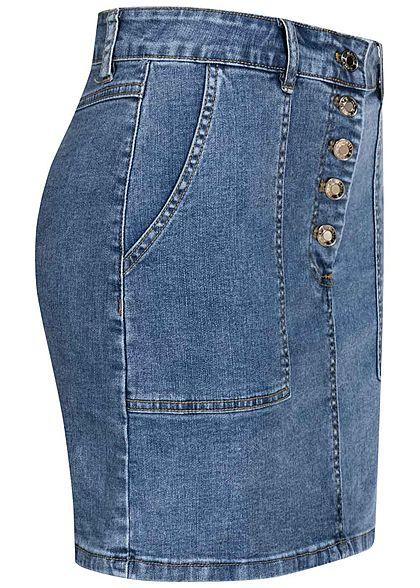 Hailys Damen Mini Jeans Rock Knopfleiste 2-Pockets medium blau denim