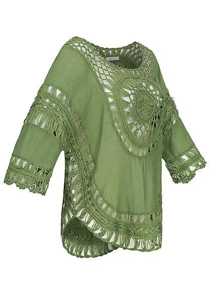 Hailys Damen Poncho Häkel Optik oliv grün