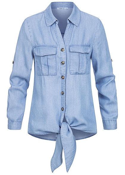 Hailys Damen 3/4 Arm Turn-Up V-Neck Bluse Bindedetail vorne 2 Brusttaschen blau denim