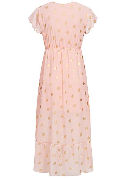 Hailys Damen  V-Neck Chiffon Kleid Punkte Muster 2-lagig Volantärmel rosa gold