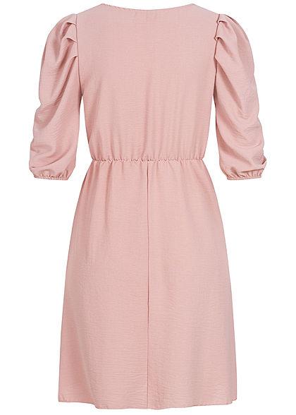 Hailys Damen  3/4 Arm Puffer Kleid rosa