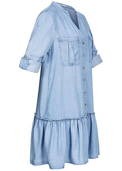 Hailys Damen V-Neck Turn-Up Kleid 2 Brusttaschen Knopfleiste hell blau denim