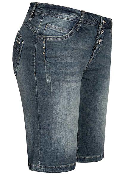 Sublevel Damen Bermuda Jeans Shorts 3er Knopfleiste 5-Pockets washed blau denim