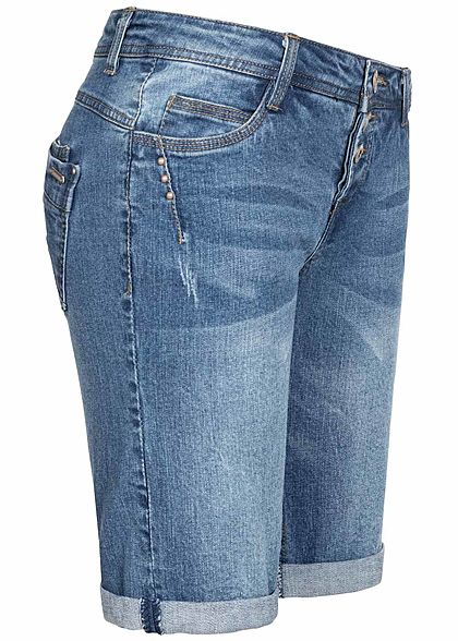 Sublevel Damen Bermuda Jeans Shorts 3er Knopfleiste 5-Pockets medium blau denim