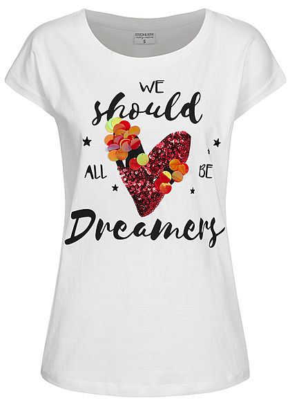 Stitch and Soul Damen T-Shirt Pailletten Herz Dreamer Print Wide Style weiss