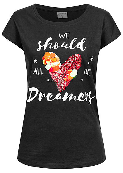 Stitch and Soul Damen T-Shirt Pailletten Herz Dreamer Print Wide Style schwarz