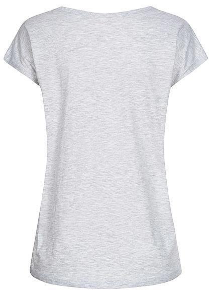 Stitch and Soul Damen T-Shirt Pailletten Herz Dreamer Print Wide Style hell grau melange