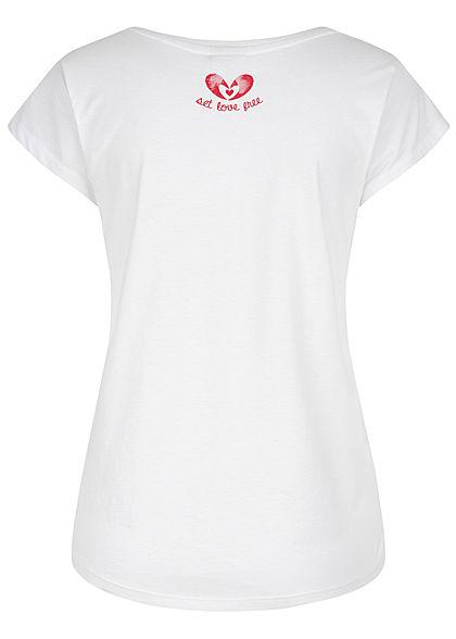 Stitch and Soul Damen T-Shirt Hummer Print weiss rot