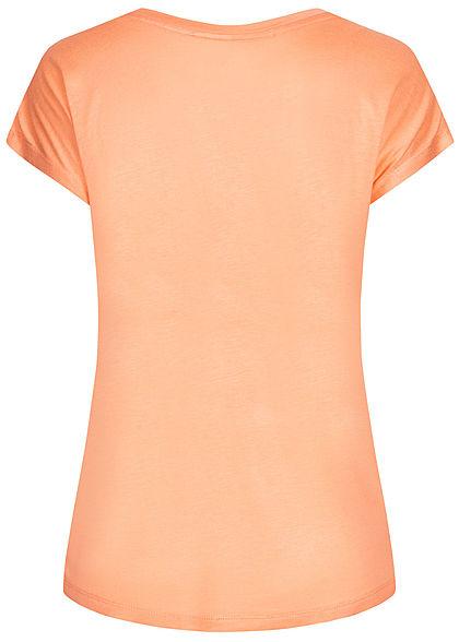 Stitch and Soul Damen T-Shirt Orangen Print orange schwarz