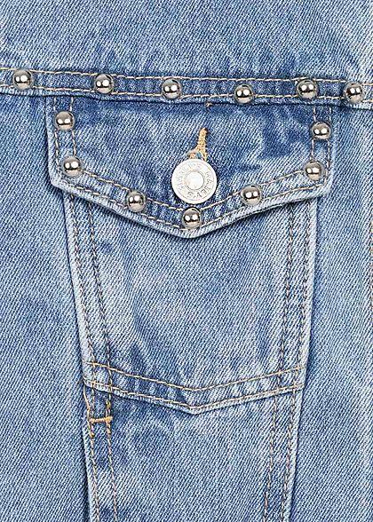 Hailys Damen Jeans Jacke Deko Nieten 4-Pockets Fransen medium blau denim